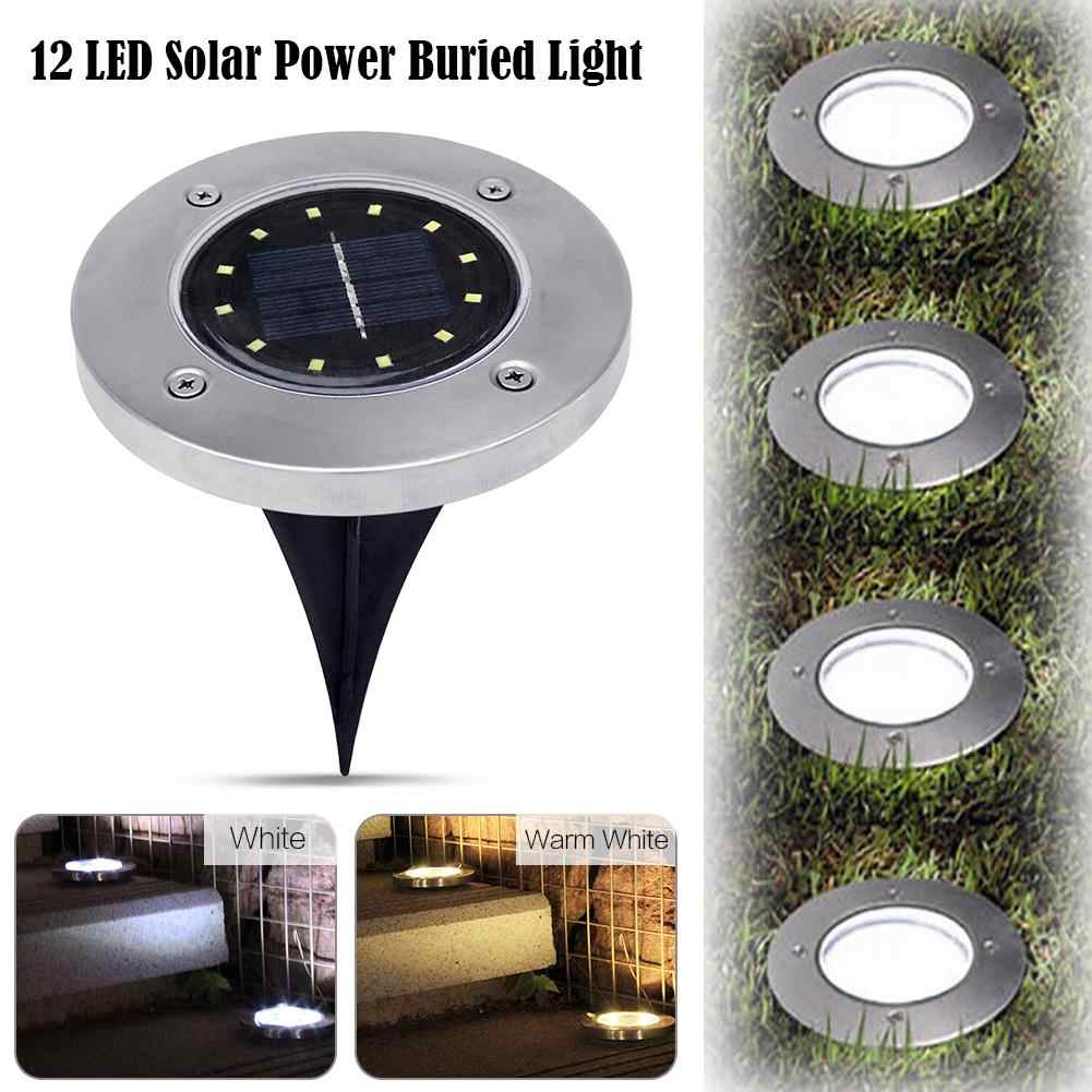 4pcs 12 LEDs Solar LED Deck Light Ground Spots Light Outdoor Garden Step Light LED Spotlight Buried Lamp for Garden Decoration