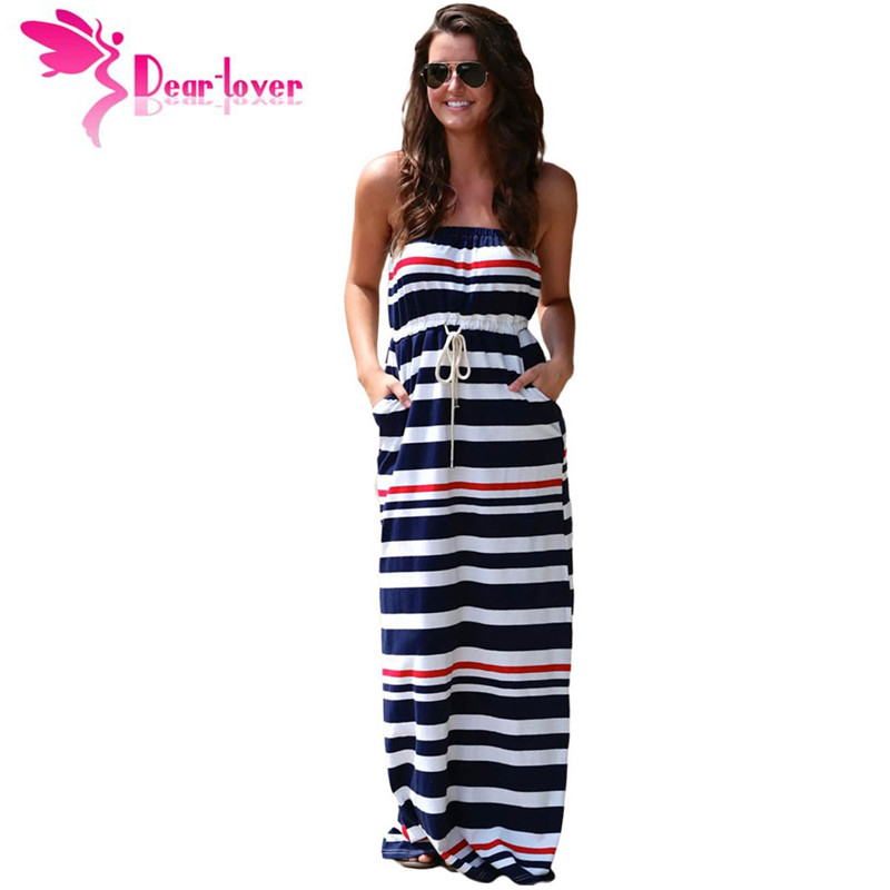 Striped maxi dress navy and white