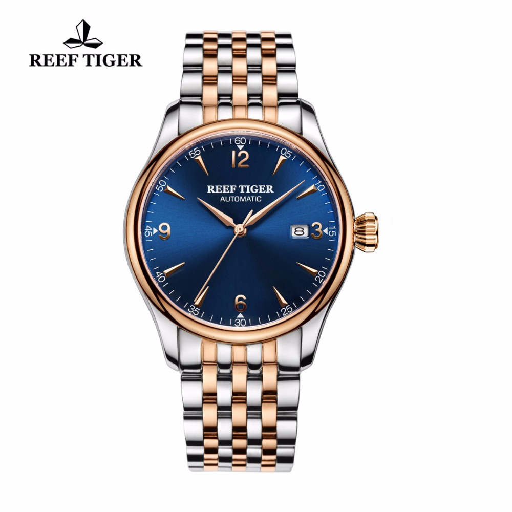 2017 New Reef Tiger/RT Brand Luxury Two Tone Rose Gold Watches with Date Blue Dial Men's Automatic Wristwatches RGA823G 2017 new reef tiger rt brand luxury watches with date blue dial men s automatic wristwatches two tone rose gold watches rga823g