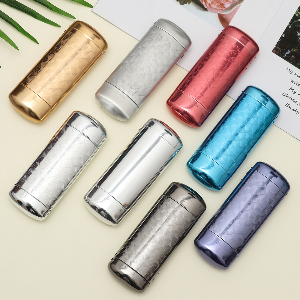 1Pc New Fashion Hard Metal Aluminum Lattice Glasses font b Case b font Capsule Flip Top