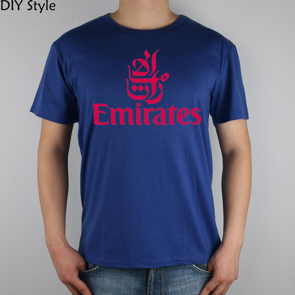 FLY EMIRATES Airlines T-shirt Top Lycra Cotton Men T shirt New Design High Quality Digit ...