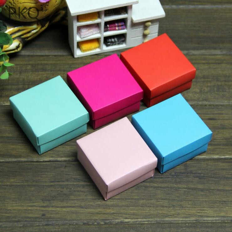 10pcs 5 Color Paper Gift box with lid Gift Carton Cardboard Box DIY Handmade Soap Packaging Box Small Square Wedding Candy Box