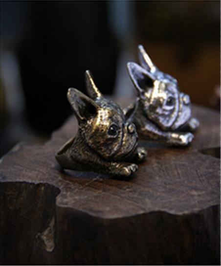 Spadek shipping-3D Retro duża głowa buldog francuski pierścień