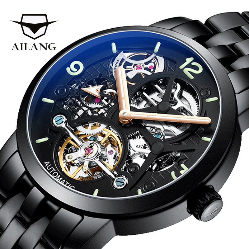 AILANG quality watch original design automatic top brand tourbillon leather watch men montre homme machinery diesel watch male