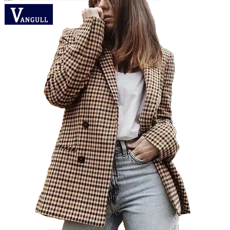 2019 Spring Retro Women's Clothing Single Breasted Plaid Blazers New Style Temperament Long Sleeve Casual Suit Collar Outwears