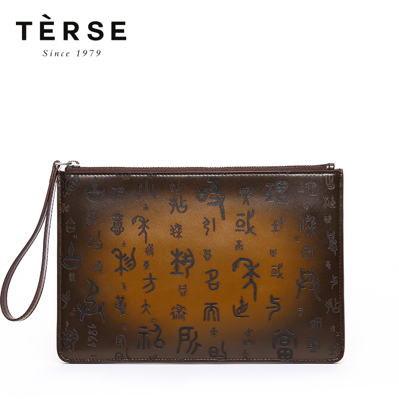 TERSE Men's Wallet Vintage Genuine Leather Clutches With Letter engraving Large Capacity Long Purse Tobacco Color 9578 1