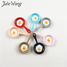 Julie Wang 10pcs Omelette Sun Egg in Mini Coloful Pan Shape Cute Little Enamel Alloy Pendant Charms DIY Jewelry Accessories(China)