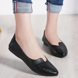 Image 4 - STQ 2020 Autumn Women Ballet Flats Genuine Leather Shoes Slip On Loafers Women Flats Woman Shoes Black Grandmother Shoes 1189
