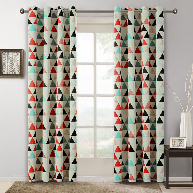 Children Curtains For Bedroom American Style Geometric Pattern Room Kids Decoration Blackout Fabrics Drapes Single Panels