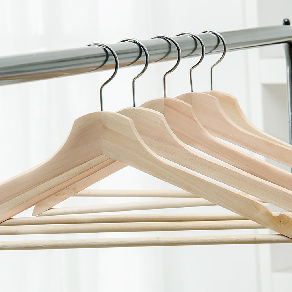 1/5/10pc Brand New  Natural  Wooden Hangers Solid Wood Clothes Coat Suit Dress Pant Skirt  Storage Rack Eco Friendly