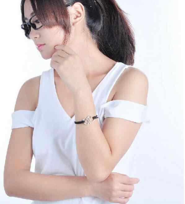 Sl 022 1 шт Новая модель в стиле ретро черные плюшевая веревка сплав двойной слой женский с сердцем персикового цвета ювелирный браслет из сплава пара красивых