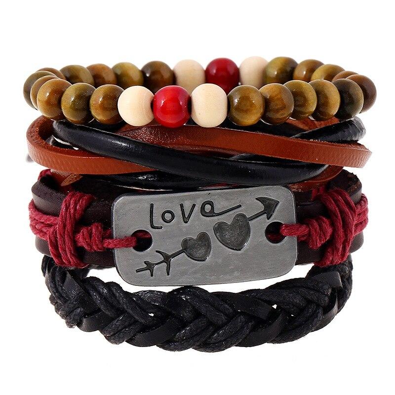 Retro Multilayer weaving beads leather bracelet for men women heart bangle para hombre Pulseira Masculina pulseras