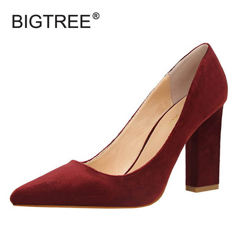 New Pointed Toe Shallow Mouth Women Square Heel Pumps Vintage Flock High Heels Women Shoes Ladies Elegant Office High Heels burgundy gray saphire blue pink women dress party career work shoes flock shallow mouth stiletto thin high heel pumps