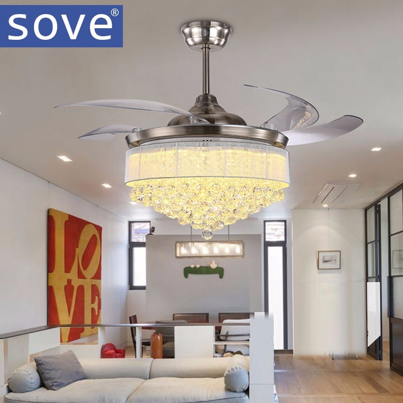 52 inch Modern LED Crystal Chandelier Fan Lights Living Room Folding Fan Lamp With Remote control Bedroom 220 Volt Fan LED Light remote control fan chandelier home mute living room solid wood fan chandelier lights american antique retro chinese lights fan