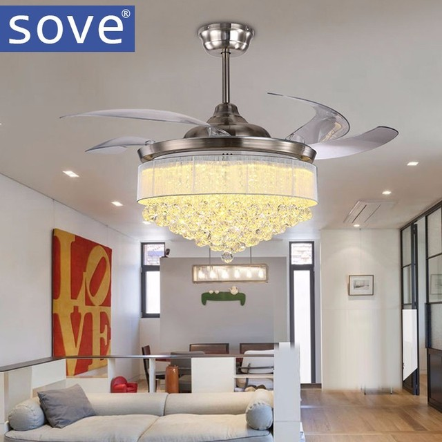 52 Inch Modern Led Crystal Chandelier Fan Lights Living Room Folding Lamp With Remote Control