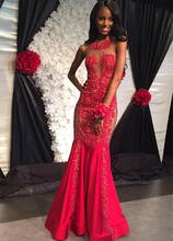 CYF71Robe de soiree Long Mermaid Red Prom Dresses 2016 See Through Back Appliques Lace Evening Dress Sexy Beaded Party Gowns