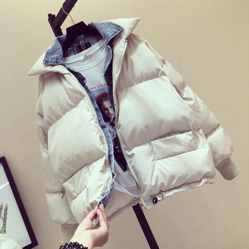 tamaño más costura de Chaqueta Mujer mujeres Denim invierno pan nxaT7TOvH