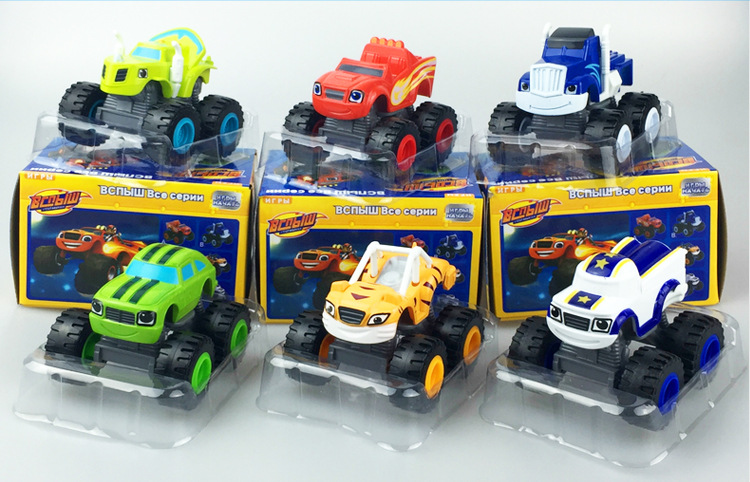 6pcsset 4 kinds blaze monster machines toys vehicle car transformation with original box best gifts for kids