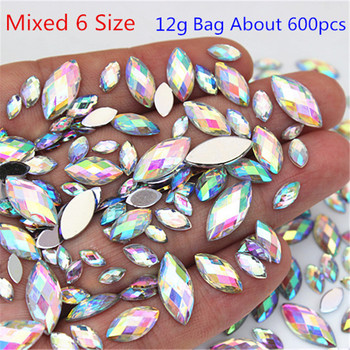 Mix 6 Size 600pcs Acrylic Rhinestones Eye Shape Crystal AB Flat Back Nail Rhinestone 3D Non HotFix Art Decoration Tool WC80