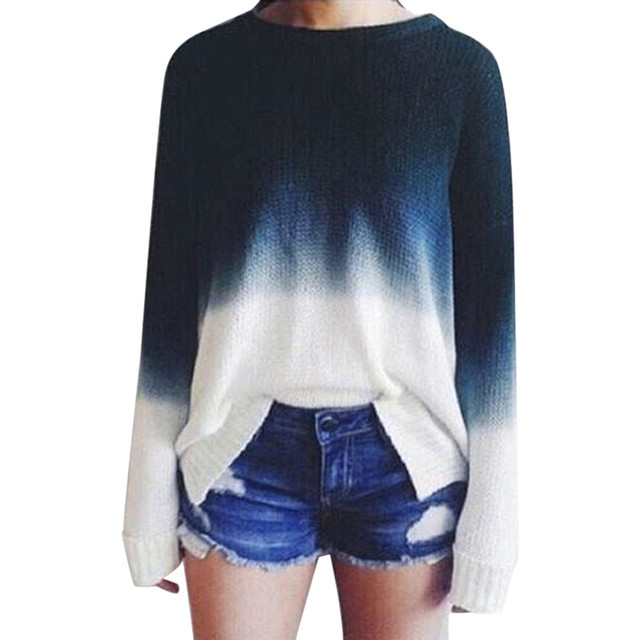 Women gradient color sweater Long Sleeve Loose Round Neck Knitted Sweate Pullover Jumper Women Sweater #25