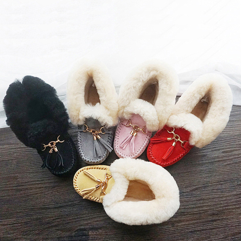 CUWHF Women Shoes Natural Fur Snow Boots Genuine Leather Winter Boots Women 100% Natural Wool Warm Ankle Boots Women Shoes 34-40