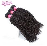 Kraliçe Aşk Saç Ön-renkli Moğol Kinky Kıvırcık İnsan Saç Doğal Renk 3 Demetleri 3 1 Ücretsiz Kapatma Olsun Remy Saç