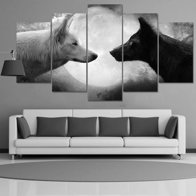 HD Print 5 pcs canvas wall art black white wolf painting art picture ...