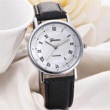 Simple Watch Unisex Leisure Dial Leather Band Analog Quartz Wrist  Clock Leisure Business Dress Men's Ladies  Big Dial Leather B