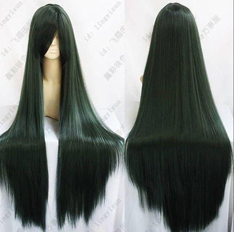 100cm Sailor Moon Pluto Meiou Setsuna Long Straight Dark Green Cosplay Wig High Quality And Inexpensive