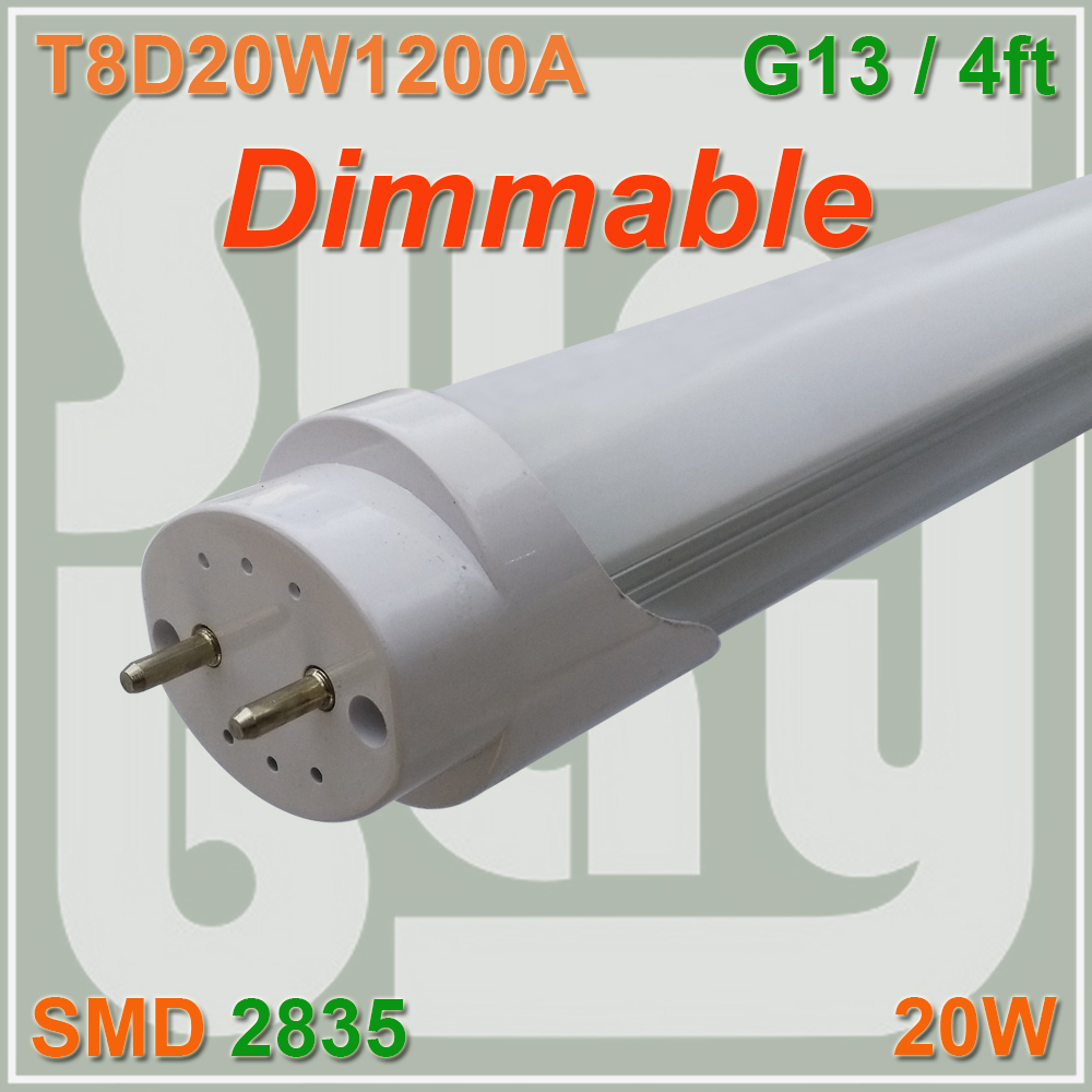 Free Shipping Dimmable T8 LED Tube Bulb 4FT 20W 1200MM G13 Base Replace Fluorescent Lamp Light t8 led tube 1200mm light 18w120cm 4ft 1 2m g13 with holder fixture high power smd2835 fluorescent replacement 85 265v