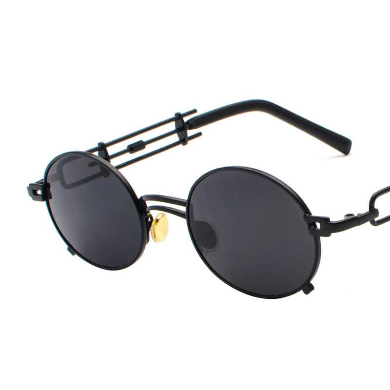 Kachawoo metal yuvarlak steampunk güneş gözlüğü erkek retro vintage gotik buhar punk güneş gözlüğü kadınlar için yaz 2018