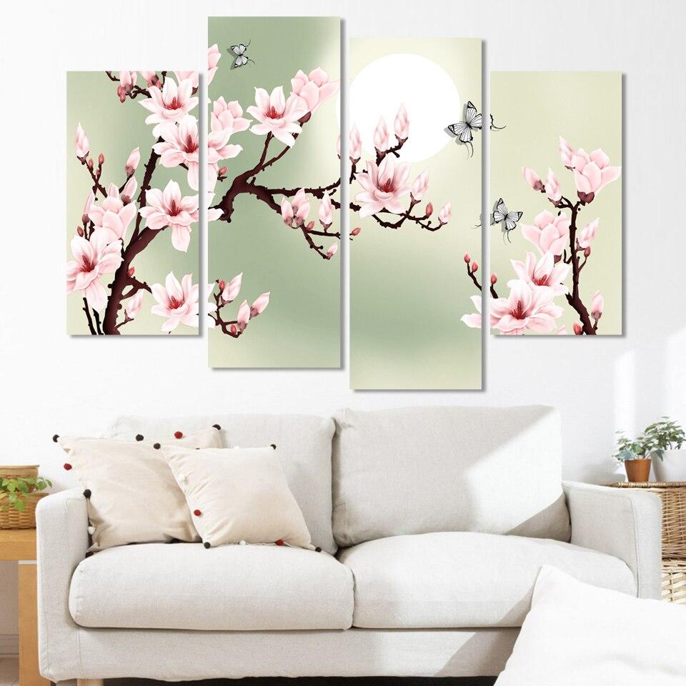 4 stuk canvas art groen Roze decoratie van orchideeën schilderij ...
