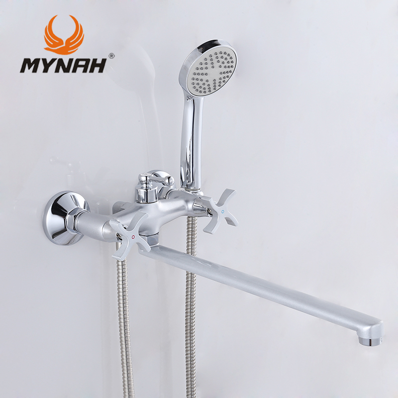 ФОТО MYNAH Russia free shipping Bathroom Shower Faucets Bathtub Faucet Mixer Tap With Hand Shower Sets shower faucet