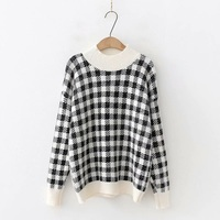 Fashion Plaid Sweater Women Mink Cashmere Knitted Pullovers Long Sleeve Autumn Winter Casual Jumpers for Girls Feminine Knitwear