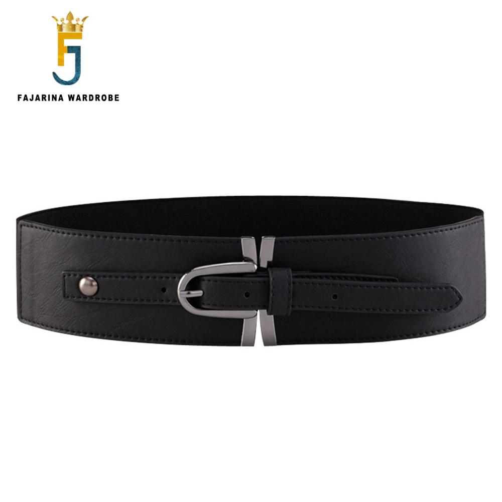 FAJARINA Ladies All-match 8cm Width Woman Decorative Elastic Cow Skin Genuine Leather Belts Women Wide Waist Cummerbunds LDFJ017