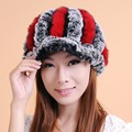 2017 New Fashion Women Winter Genuine Rex Rabbit Fur Hat Girl Real Rex rabbit Fur Cap Elegant Winter Hat Free Shipping