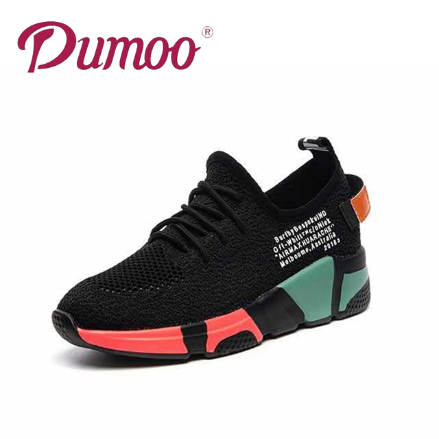 Dumoo Girl Sneakers Shoes Women White/Black Breathable Sneakers Casual Shoes Female Mixed Colors Shoes Heel 5cm Zapatillas Mujer 5