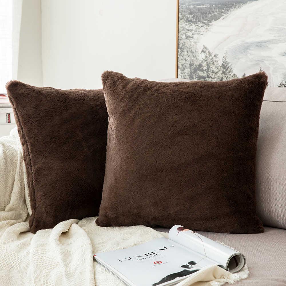 装飾の毛皮枕カバー豪華な暖かいのどの毛皮のスロー枕ケーススーパーソフトクッションカバーソファー寝室カー