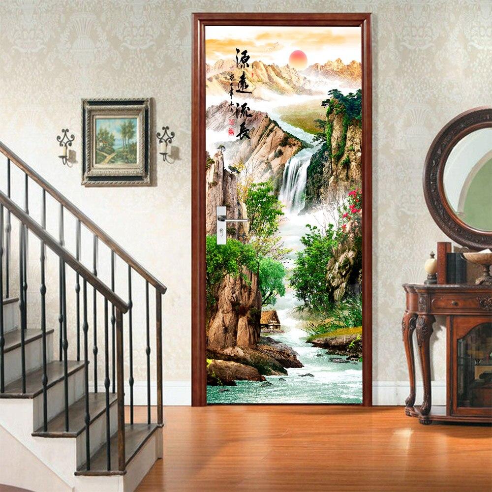 New 3D Ancient Rising Sun Door Sticker DIY Murals Selfadhesive Wallpaper Removable Waterproof Poster Stickers Home Decor Decals|Door Stickers|Home & Garden - title=