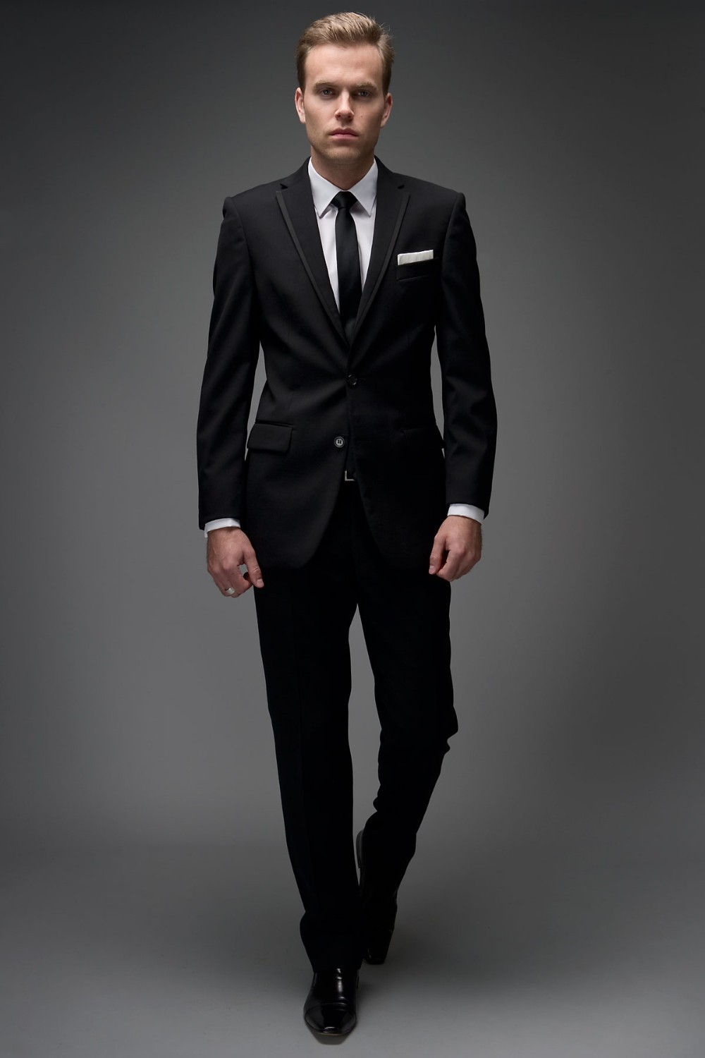 Hot Selling Dark Black Slim Fit Boss Work Suits Wedding Suit Groom ...