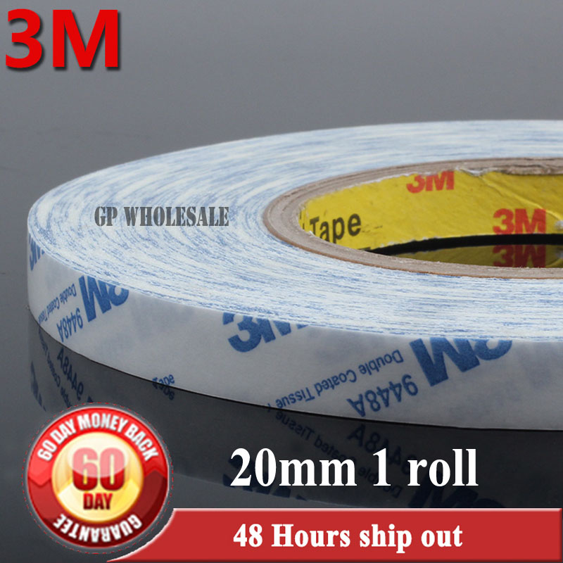 (20mm* 50M) 3M 9448 White Strong Adhesive Tape for Control Panel, Cellphone Tablet Mini Pad LCD Touch Screen Scotch Brand Tape szbft 1mm black brand new 3m sticker double side adhesive tape fix for cellphone touch screen lcd free shipping
