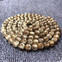 Wholesale Natural With the Skin of White Bodhi Root 108 Carving Lotus Beads Mala Bracelets DIY Buddha Beads Ornaments Jewelry