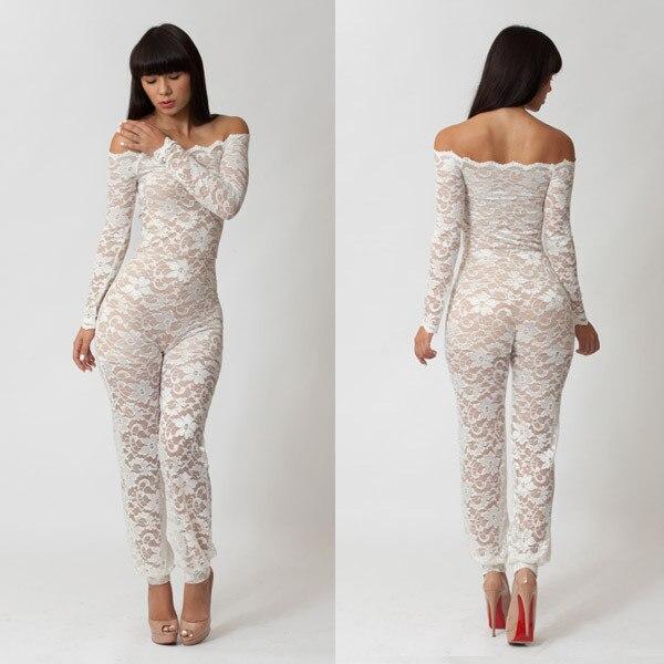 2d05e0d5e0 hot sale lace clothes lace flower long pants Party clothes jumpsuits  fashion women night club clothing sex