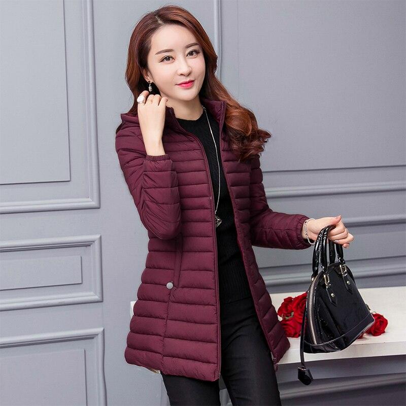 2017 Nová Plus SizeXL až 6XL zimní silná teplá s kapucí dlouhá bavlněná bunda Parka Slim Winter Coat Wadded Jacket Women