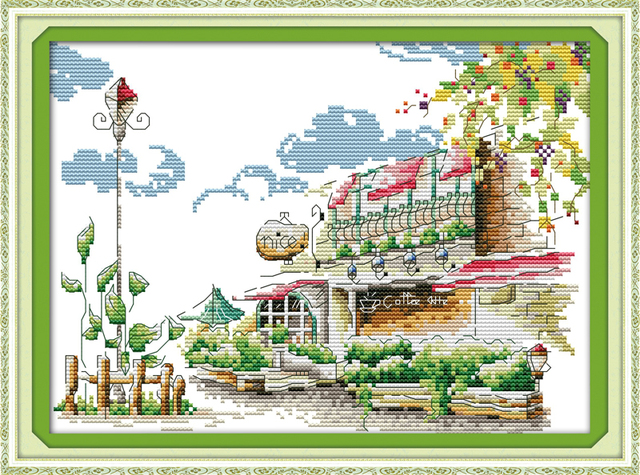 Coffee House Cross Stitch Kits Scenic DMC Cotton Thread 14CT White 11CT Printed Embroidery DIY Handmade Needlework Home Decor