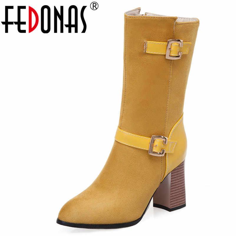 FEDONAS Klasik Vintage Sivri Burun Kare Topuklu Kadın Orta Buzağı Botları 2019 Sonbahar Kış Yeni Akın Batı Botları Temel ayakkabı