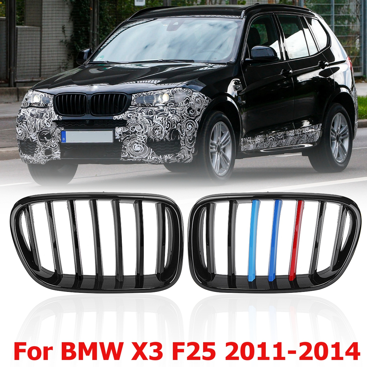 1 Pair Gloss Black M-Color Front Bumper Center Kidney Grilles For BMW X3 F25 2011 2012 2013 2014 Racing Grills possbay chrome front hood kidney grilles for bmw x5 e53 3 0d 3 0i 4 4i 4 8is 2003 2007 facelift front bumper center grills