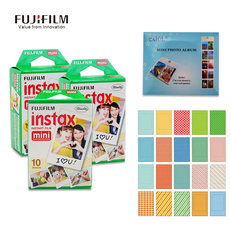 Fujifilm Fuji Camera 50 Sheet Film Paper Instax Mini 8 Accessory Hang Photo Favorites 20 pcs Stickers Instant Mini 7s 25 50s 90