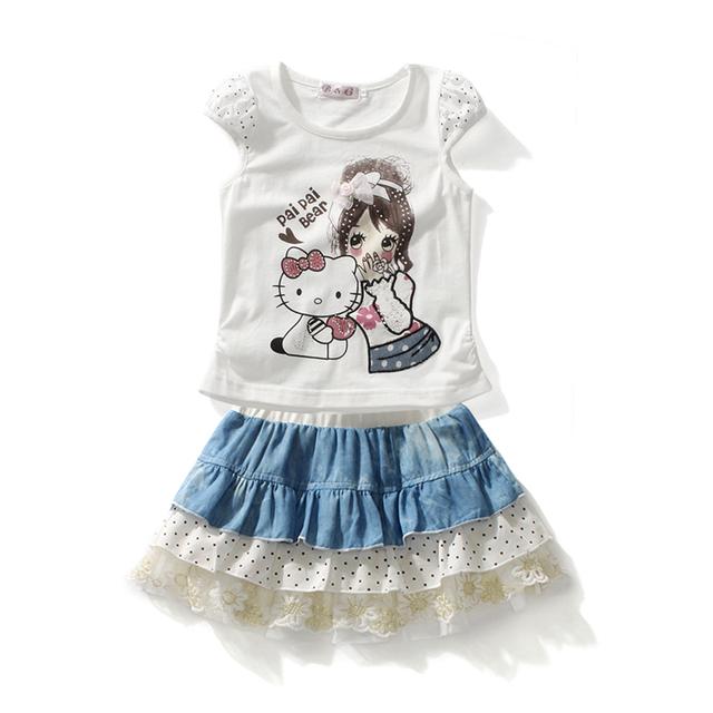 Crianças roupas de verão 2015 meninas do bebê roupas define camiseta + saia roupas de menina de preços em euros