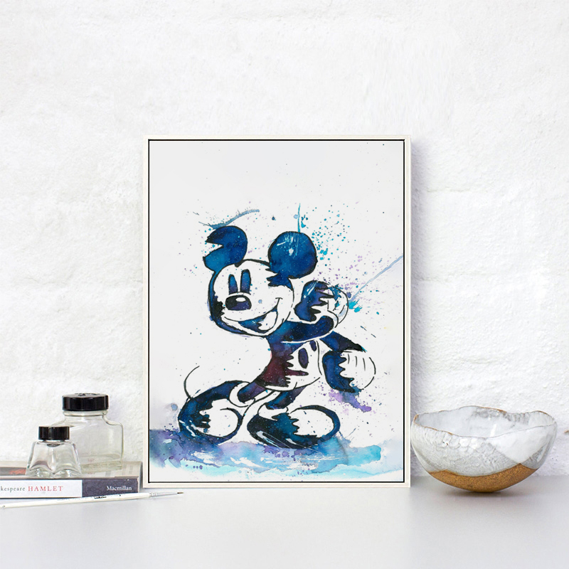 07G Watercolor Abstract Cute Movie Cartoon Mickey A2 A3 Canvas Art Painting Print Poster Image Wall Baby Bedroom Home Decoration